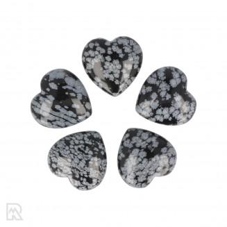 Sneeuwvlok Obsidiaan Hart ± 3 cm